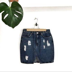 H&M Distressed Denim Mini Skirt Sz 8